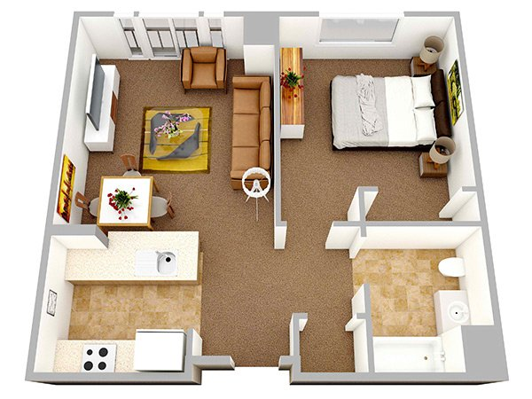 One Bedroom Apartment Plan. 20 One Bedroom Apartment Plans for Singles and Couples   Home