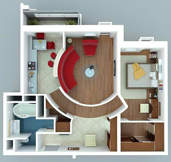 curve seating. 20 One Bedroom Apartment Plans for Singles and Couples   Home