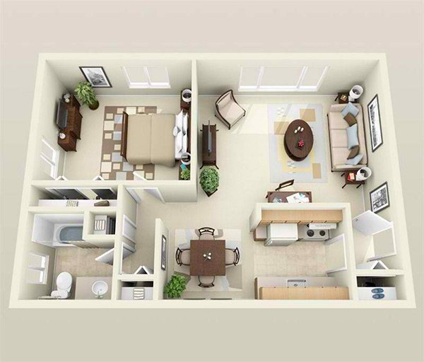 One Room Apartment: 20 One Bedroom Apartment Plans For Singles And Couples