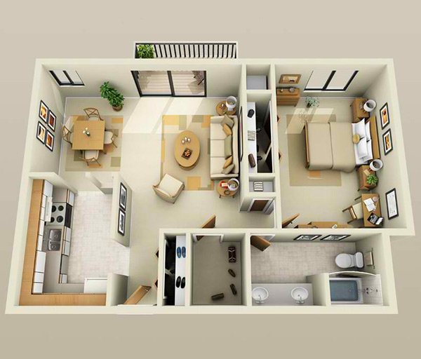 L shaped kitchen  Paragon Apartments. 20 One Bedroom Apartment Plans for Singles and Couples   Home