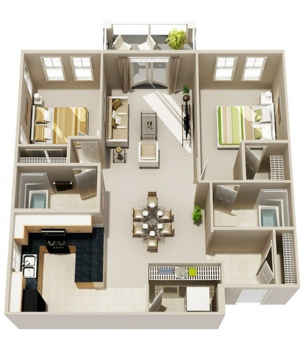 Bold stripes. 20 Interesting Two Bedroom Apartment Plans   Home Design Lover