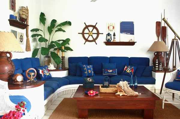 nautical bric-a-brac - 20 Nautical Home Decorations In The Living Room Home Design Lover