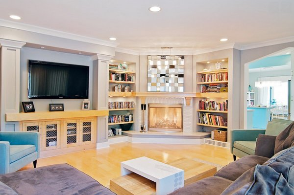 dual bookcases - 20 Appealing Corner Fireplace In The Living Room Home Design Lover