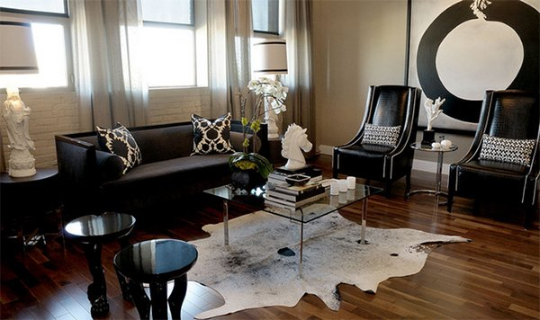 T Eatons Living Room. Cowhide Rugs Designs