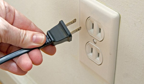 Unplug appliances and electronics when not in use