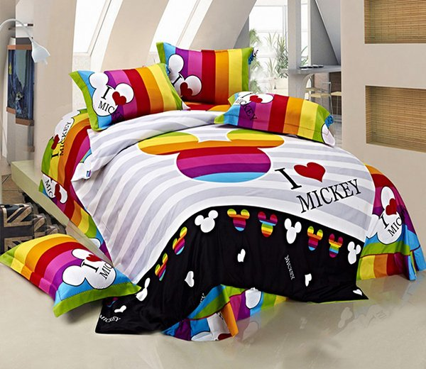 Striped Mickey Mouse Head Queen Size Bedding. 20 Invigorating Mickey and Minnie Bedding Sets   Home Design Lover