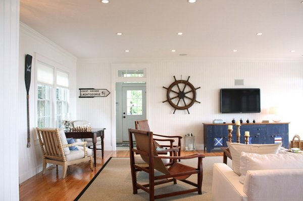 light-colored painted planks - 20 Nautical Home Decorations In The Living Room Home Design Lover