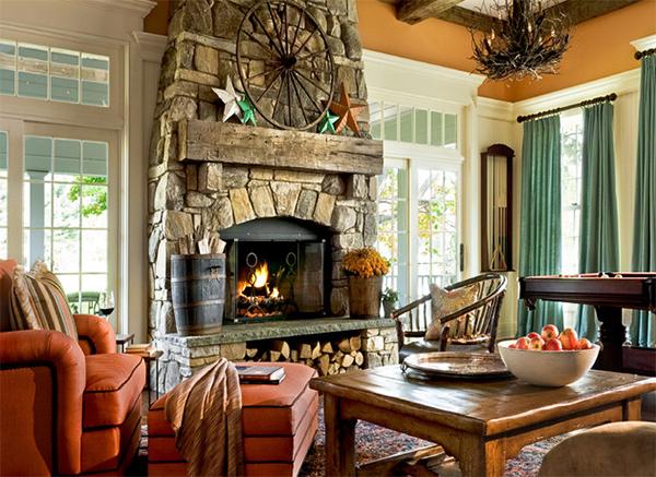 stones fireplace