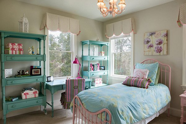 Shelves. 20 Fashionable Turquoise Bedroom Ideas   Home Design Lover