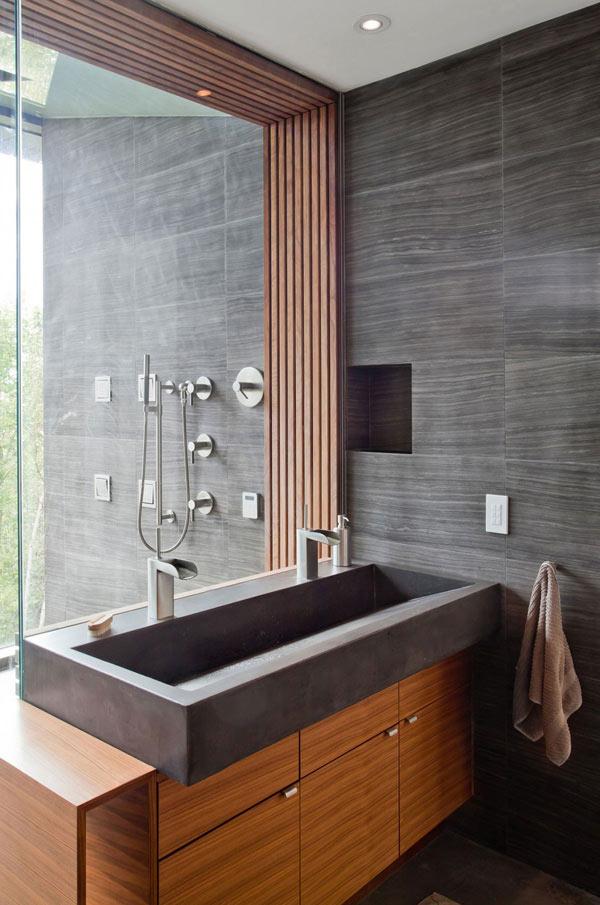 gray stone powder room