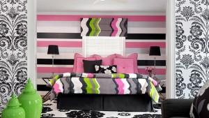 pink black bedroom