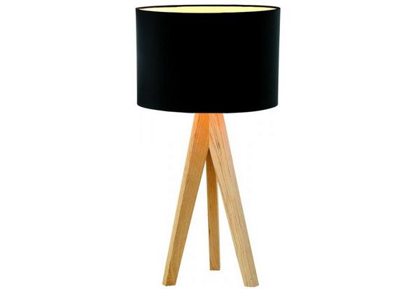 Table Lamps Wooden: Black Linen,Lighting