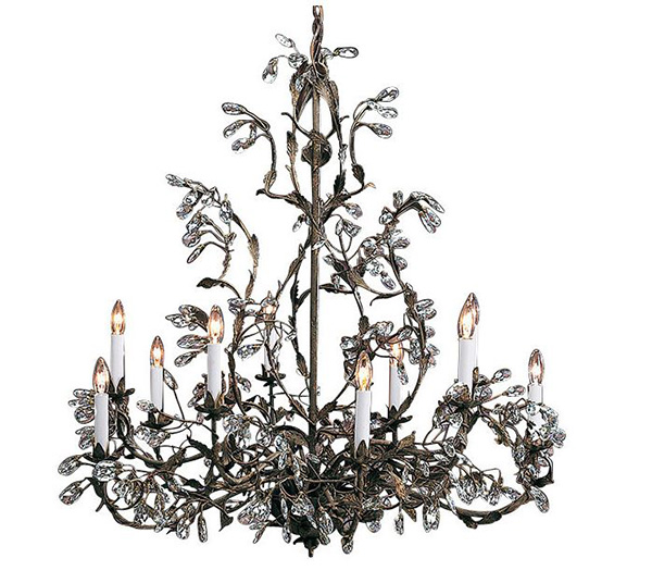 Wrought Iron Chandelier with Swarovski Crystal