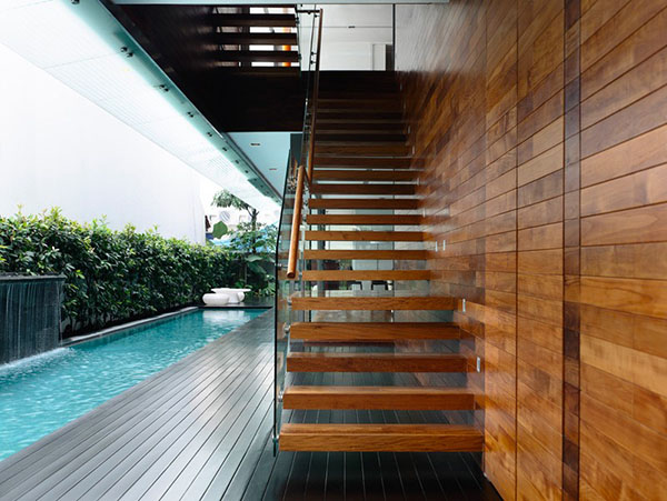 glass wood staircase