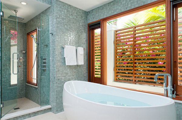 Contemporary Bathroom with tiled idea