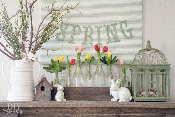Spring Mantel Decorating