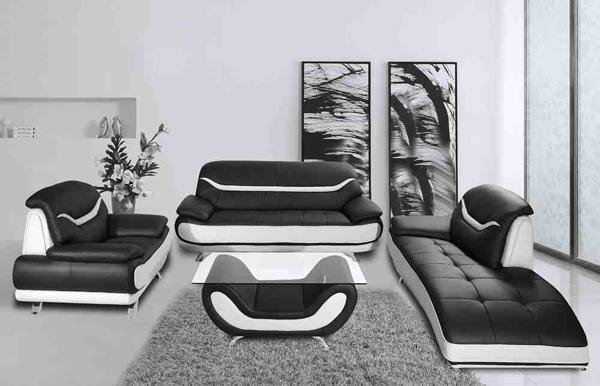 breathtaking black white living room furniture | 20 Modern Leather Living Room Furniture | Home Design Lover