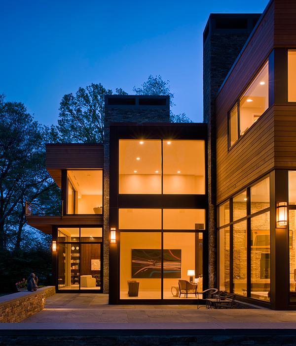 evening house lighting