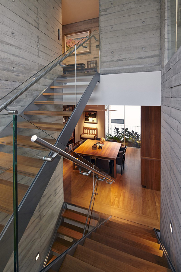 glass wood stairs