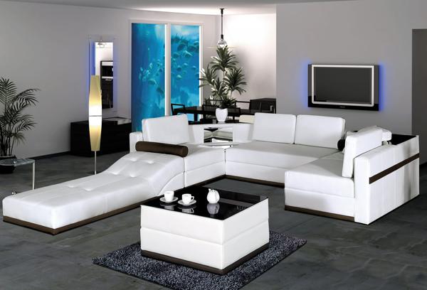 20 Stunning White Leather Living Room Furniture | Home Design Lover
