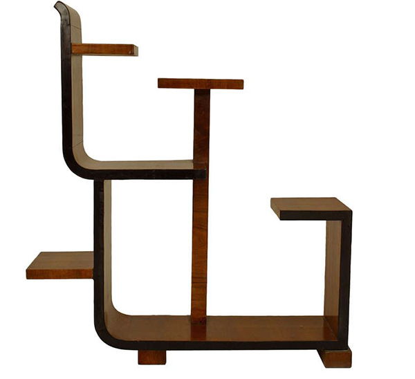 French Art Deco Asymmetrical Walnut Etagere