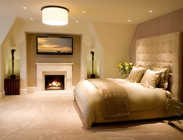 gold bedroom fireplace