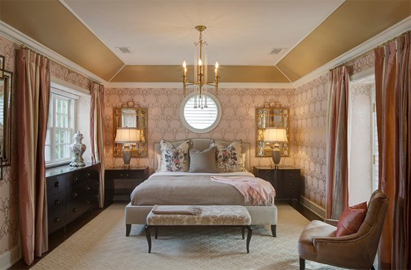 gold chandelier bedroom