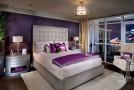 purple gold bedroom