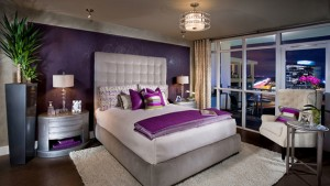 purple gold bedroom