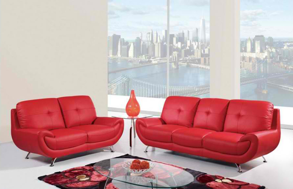 red leather furniture
