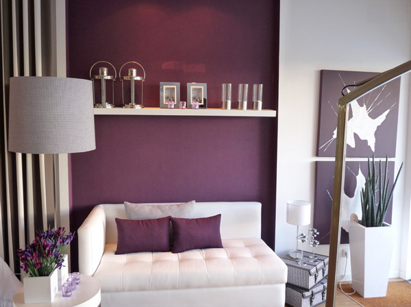 purple gold living rooms