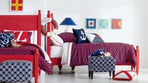 blue red white bedroom