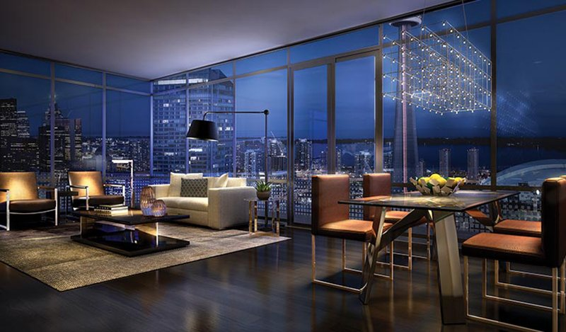 Panoramic Living Room Views, King Blue