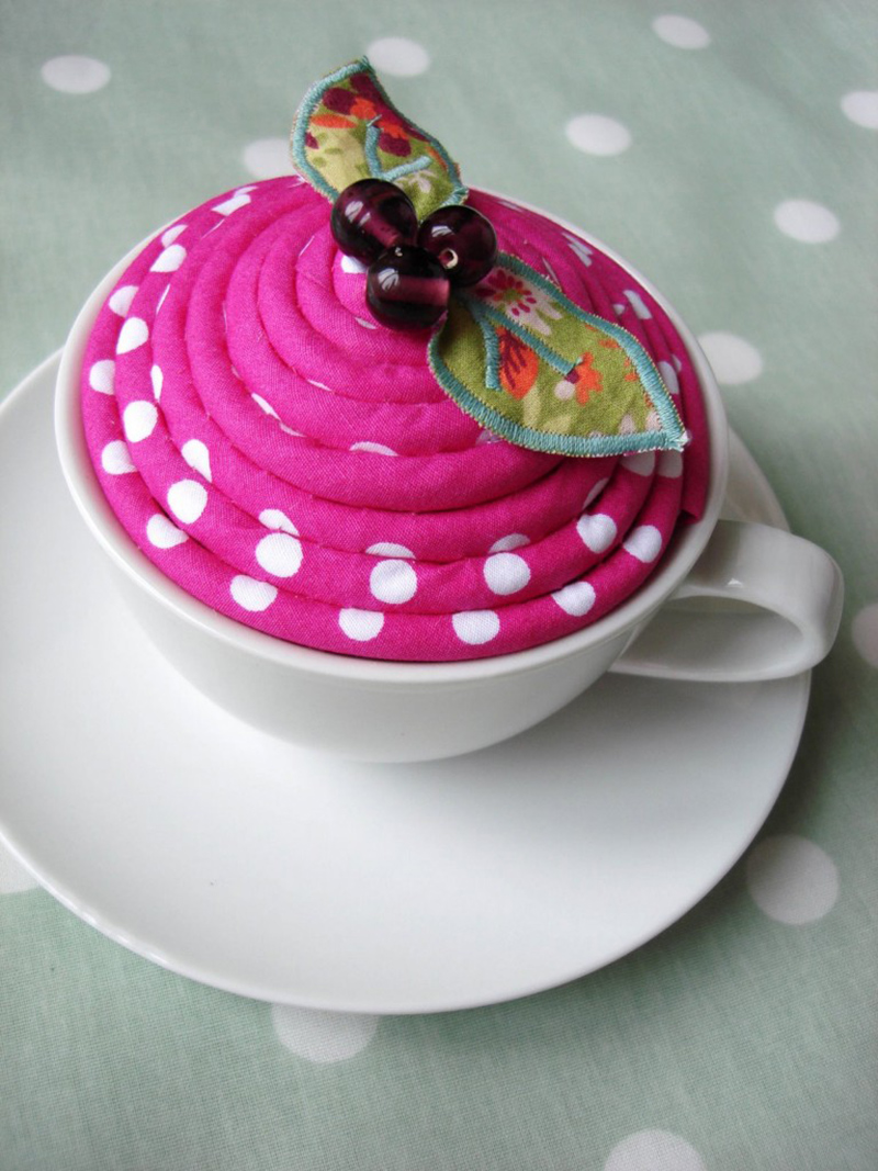 Polka Dot Teacup Pincushion