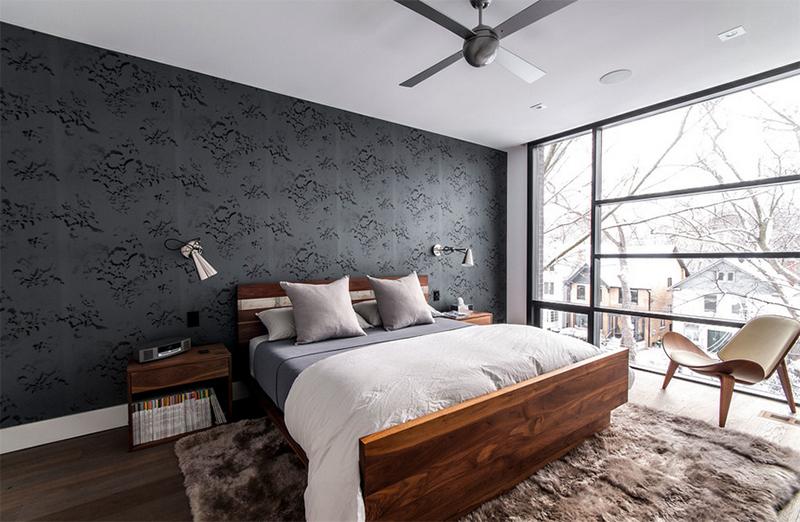 black patterned wallpaper bachelor pad ideas