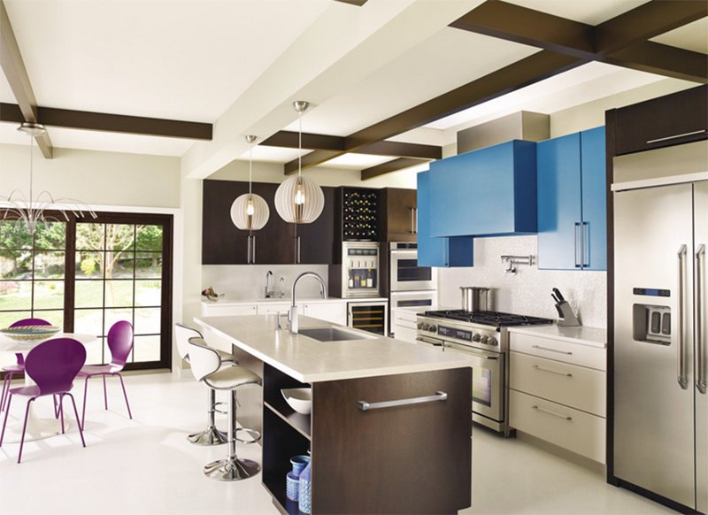 blue hanging cabinets
