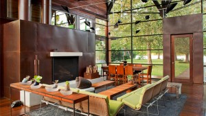 copper fireplace livingroom