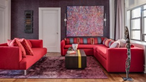 red living room couch