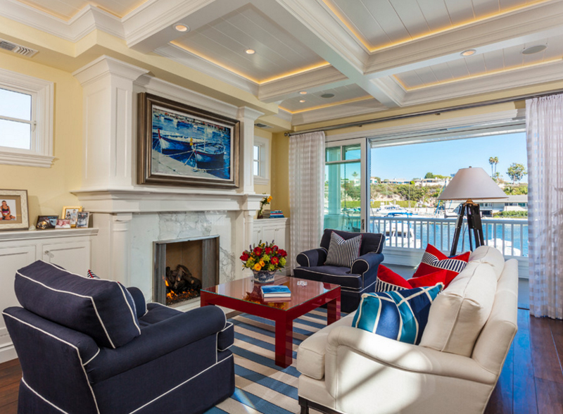 exciting red blue living room ideas | 20 Beautiful Living Rooms with Blue, Red and White Accents ...