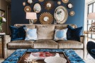 gold navy living room
