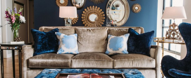 gold navy living room