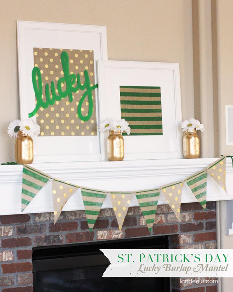 Burlap Mantel Decor St. Patrick's Day
