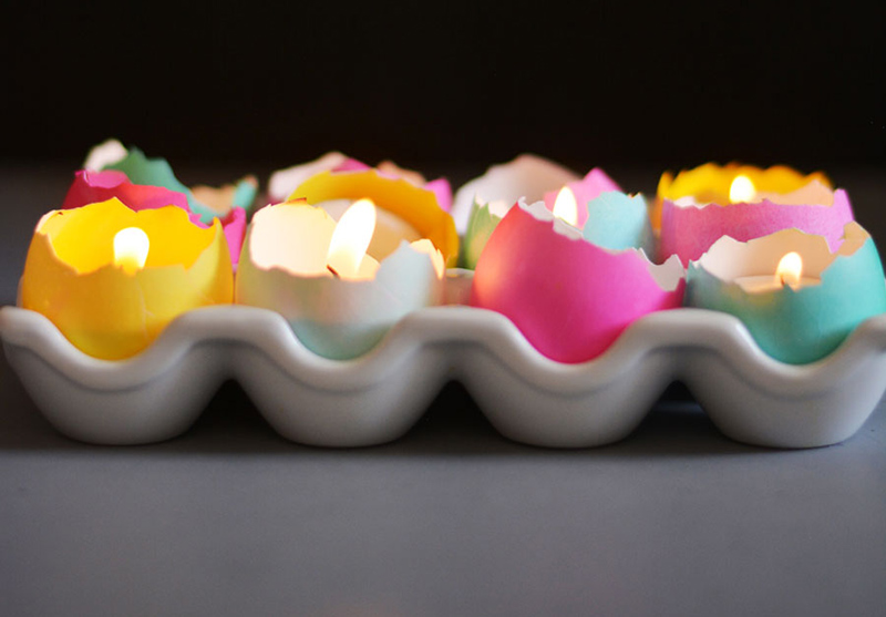 DIY Eggshell Tealight Candle Centerpiece