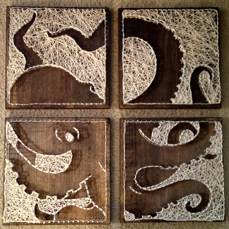 4 panel Octopus Nail and String Art