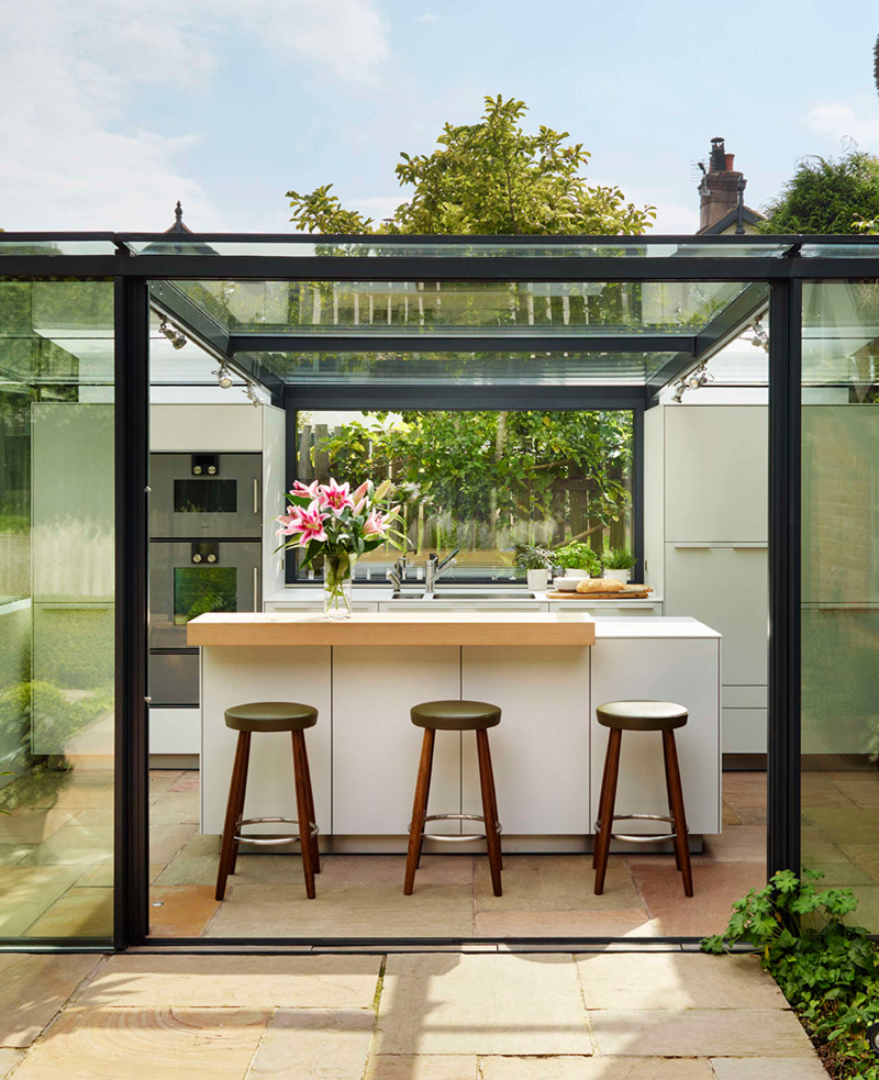 glass box kitchen stools