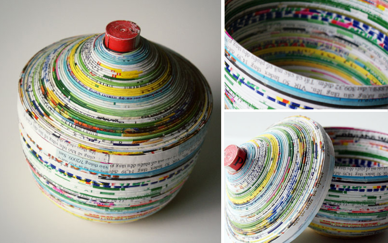 Coiled Magazine Page Dish With Lid