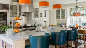 drum chandelier kitchen