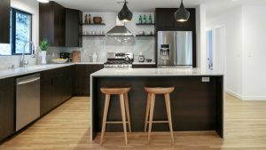 black white L kitchens