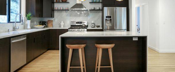 black white L kitchens