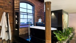 brick wall bath